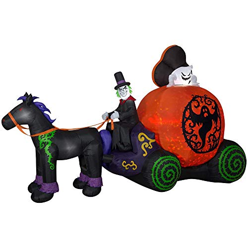 Inflatable Lighted Horse Carriage for Halloween Yard Decor