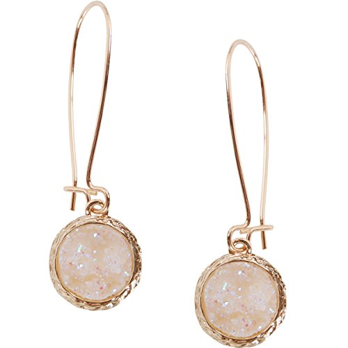 Humble Chic Simulated Druzy Threaders - Upside-Down Long Hoop Dangle Drop Earrings for Women, Simulated Opal, Sparkly Pearly White, Opalescent, Simulated Moonstone, Gold-Tone