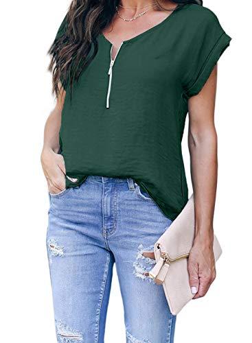 Arainlo Damen Langarm-Sweatshirt, Pullover, kurzärmelig, V-Ausschnitt, halber...