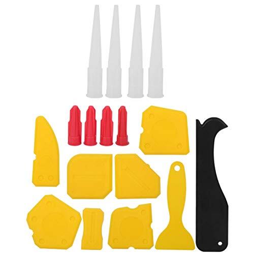 Kit de esparcidor de sellador de 17 piezas/juego, raspador de calafateo de ventana de plástico, pegamento de vidrio, herramienta de acabado de belleza