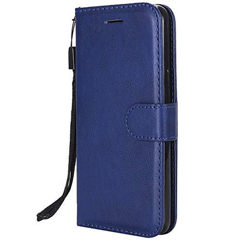 Hülle für LG Q6 / Q6+ (Q6 Plus) Handyhülle Schutzhülle Leder PU Wallet Bumper Lederhülle Ledertasche Klapphülle Klappbar Magnetisch für LG Q6 / M700N - ZIKT051119 Blau