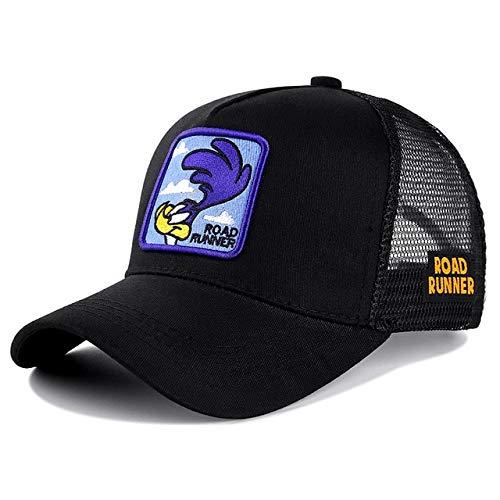 Gorra de béisbol de algodónSnapbackHombres Mujeres Hip Hop Papá Sombrero de Malla Sombrero de Camionero-Roud Runner Black