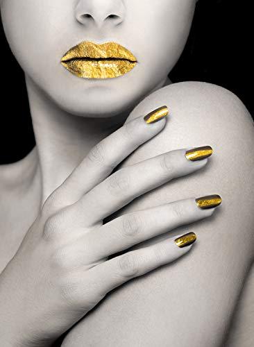Queence | Acrylglasbild mit Blattgold | Wandbild Glasbild Acrylbild Rahmenlos | Goldenes Model | Druck auf Acrylglas | Goldveredelung | Größe: 40x60 cm