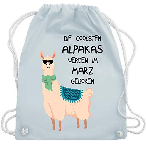 Shirtracer Geburtstag - Die coolsten Alpakas werden im März geboren Sonnenbrille - Unisize - Pastell Blau - lama rucksack - WM110 - Turnbeutel und Stoffbeutel aus Baumwolle