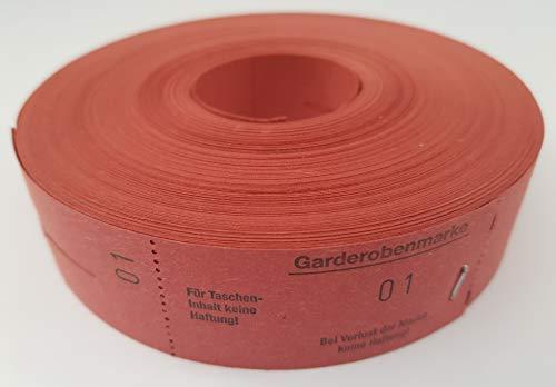 Garderobenmarken-Rollen, Rot, NR.1-500