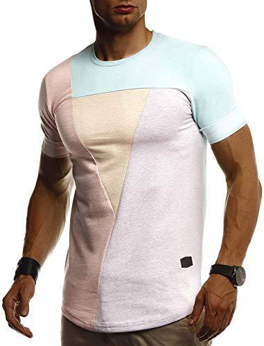 Leif Nelson Herren Sommer T-Shirt Rundhals Ausschnitt Slim Fit Baumwolle-Anteil Cooles Basic Männer T-Shirt Crew Neck Jungen Kurzarmshirt O-Neck Kurzarm LN8322 Blau Large