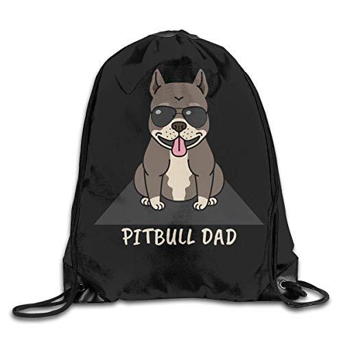 BK Creativity Drawstring Backpack Bag,Funny Cute American Pitbull Terrier Dog Dad String Backpack Bag,Comfortable Shoulder Backpacks For Gym Outdoor Travel,36x43cm