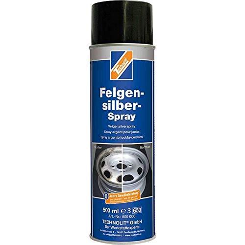 TECHNOLIT Felgensilber-Spray 500 ml, Sprühlack, Felgenlack, Felgenspray, Lackspray