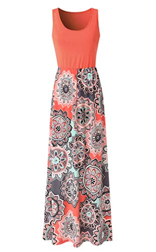 Zattcas Womens Summer Contrast Sleeveless Tank Top Floral Print Maxi Dress Orange Coral Medium