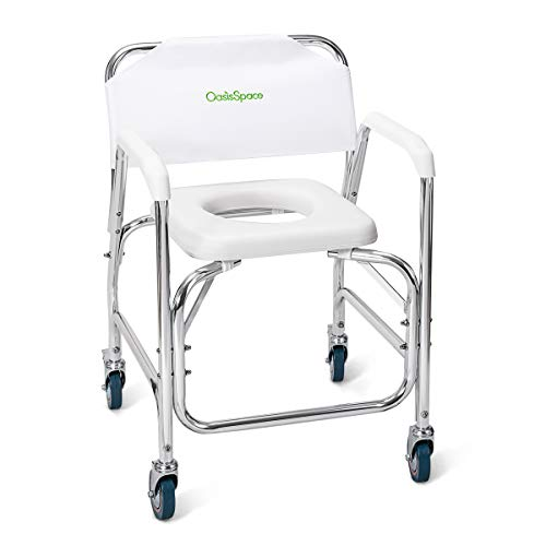 Rolling Shower and Commode Transport Chair with Wheels and Padded Seat for Handicap, Elderly, Injured and Disabled, 450 lb Weight Capacity
