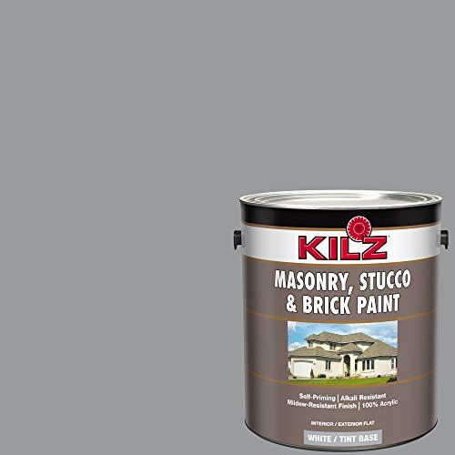 Product Image of the KILZ 13510701 L340711 Interior/Exterior Self-Priming Masonry, Stucco and Brick Flat Paint, 128 Fl Oz (Pack of 1), Coal Smoke (Smoky Slate Gray)