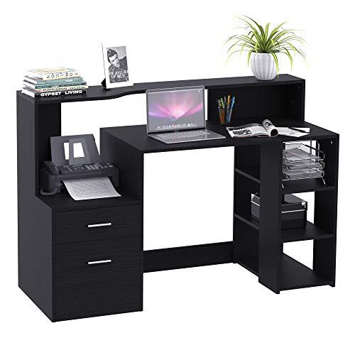 HOMCOM Schreibtisch mit Regal Computertisch Bürotisch mit Tischplatte für Drucker Schublade MDF Metall Schwarz 137 x 55 x 92 cm