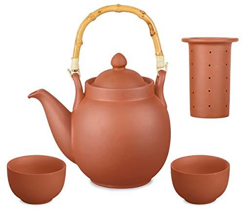Aricola Ton Teeservice Tenno 3-teilig. Bestehend aus Ton Teekanne 1,6 Liter und 2 Tontassen. Handgefertigt, Original
