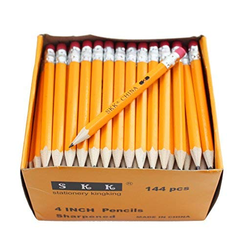 SKKSTATIONERY Half Pencils with Eraser Tops, Golf, Classroom, Pew - #2 HB, Hexagon, Pre-sharpened, 144/Box.