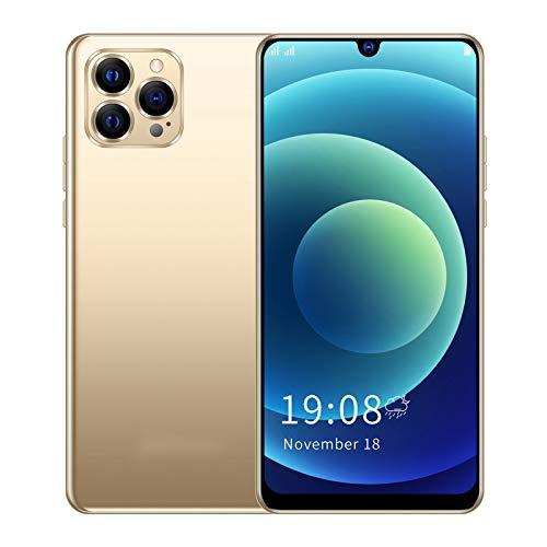 IP12 Pro + Smartphone, SC7731E Quad-Core CPU Teléfono Móvil con Reconocimiento Facial Smartphone con WiFi + BT + FM + GPS 6.26in Celular para Jugar Juegos(Oro)