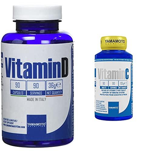 Yamamoto Nutrition Integratore Alimentare Di Vitamina D - 90 Capsule & Nutrition Integratore Di Vitamina C - 90 Compresse