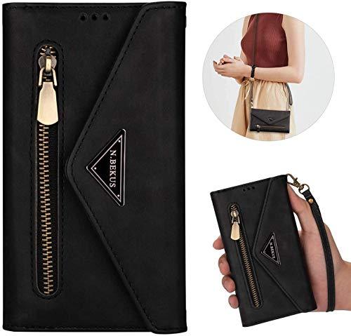 Kompatibel mit Huawei Mate 20 Lite Hülle Leder Tasche Brieftasche Flip Wallet Case Schutzhülle Handyhülle Reißverschluss Geldbörse Klapphülle Handytasche mit 5 Kartenfächer,Schwarz