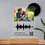 Aolun Soundwave Art Custom Gifts Night Light Scannable Personalized QR Code Glass Picture LED Lamp Customized Gift for Mothers Day,Fathers Day,Valentines Day,Thanksgiving, Christmas