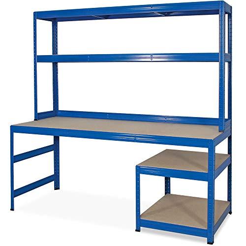 BRB Arbeitstisch/Packtisch, 1800x1800x600 mm, Arbeitshöhe 750/1050 mm, Unterbau HxBxT 520x600x600 mm