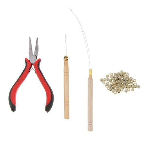 yotijar Extensiones de Cabello Kit de Herramientas de Gancho de Abrazadera + 100 Piezas de Micro Silicona - Beige