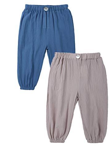 AYIYO Baby-Leinenhose, für Mädchen, Jungen, elastische Taille, lose lange Haremshose, 2 Stück Gr. 12-24 Monate, Blau+Khaki