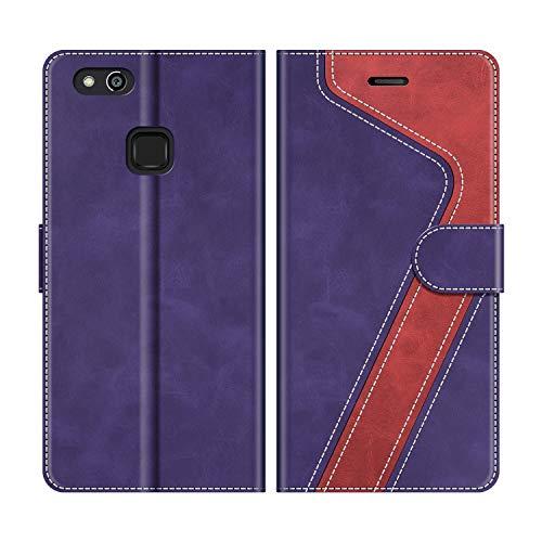 MOBESV Funda para Huawei P10 Lite, Funda Libro Huawei P10 Lite, Funda Móvil Huawei P10 Lite Magnético Carcasa para Huawei P10 Lite Funda con Tapa, Violeta/Rojo