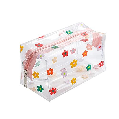 CITESI Neceser holográfico para maquillaje, bolsa para lápices con cremallera, de PVC transparente, bolsa de cosméticos con aspecto rosa chic, para niñas y mujeres (flores)