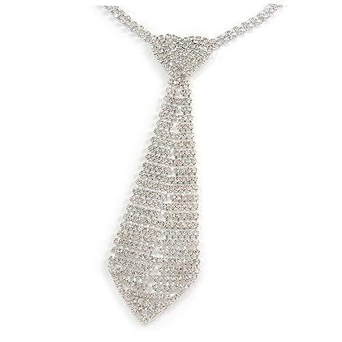 Unbekannt Avalaya Krawatten-Halskette mit Herz-Motiv, Metall, transparent, 32 cm lang, 17 cm Verlängerung 16 cm