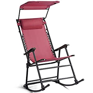 Folding Rocking Chair Patio Furniture W/Canopy Red-Nursery Rocking Chair-Rocking Chair for Baby-Glider Planes for Kids-Glider Chairs, Ottomans & Rocking Chairs-Rocking Chair