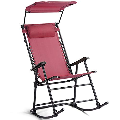 Heize best price Red Folding Rocking Chair Rocker Porch Zero Gravity Patio Furniture W/Canopy Recliner Yard Garden Pool(U.S. Stock)