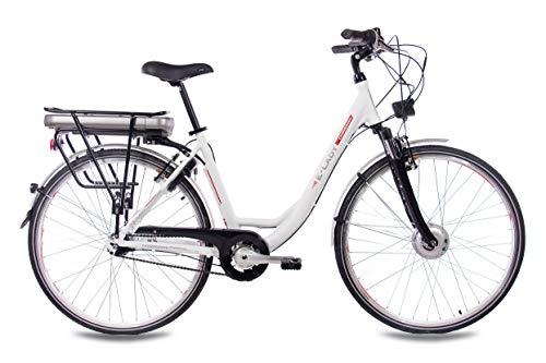CHRISSON 28 Zoll E-Bike Trekking und City Bike für Damen – E-Lady Weiss mit 7 Gang Shimano Nexus Nabenschaltung – Pedelec Damen mit Bafang Vorderradmotor 250W, 36V Bild 4*