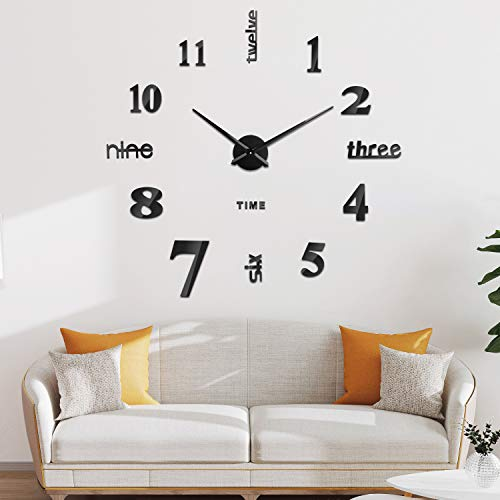 SOLEDI Reloj de Pared 3D, DIY Reloj de Etiqueta de Pared Decoración Ideal para la Casa Oficina Hotel