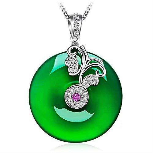 Colgante De Mariposa De Jade Verde Hetian Verde Natural, Collar De Plata 925, Amuleto De Jadeíta...
