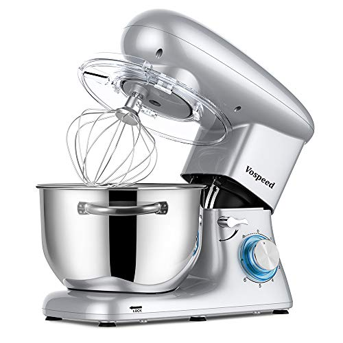 Vospeed Stand Mixer with Dishwasher-Safe Dough Hook, Flat Beater, Wire Whip, 660W 6-Speed Tilt-Head Electric mixer with 6 QT Stainless Steel Bowl Noiseless Less Than 76 (Silver)