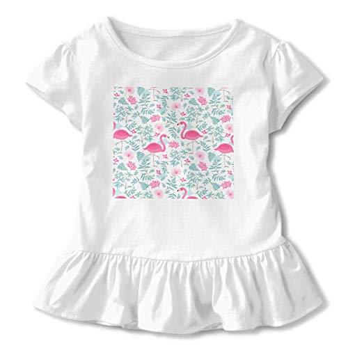 Manga Corta para niñas Lindos flamencos Rosados y Flores Tropicales Camiseta de Manga Corta para niños Unisex Ropa de Escalada para bebés Monos Mameluco Manga Corta Onesies Ligeros Negro