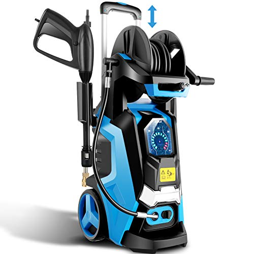 TEANDE Electric Pressure Washer 3800 PSI Smart High Pressure Power Washer 2.8 GPM 1800W Powerful Cleaner Machine with Hose Reel, 4 Nozzles, Touch Screen 3 Gear Level,15 Level Pressure (Blue)
