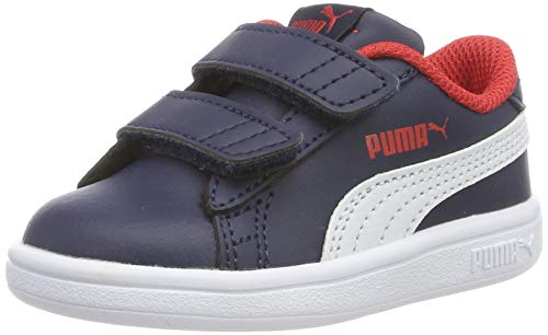 PUMA Smash V2 L V Inf, Zapatillas Unisex bebé, Azul (Peacoat White), 23 EU