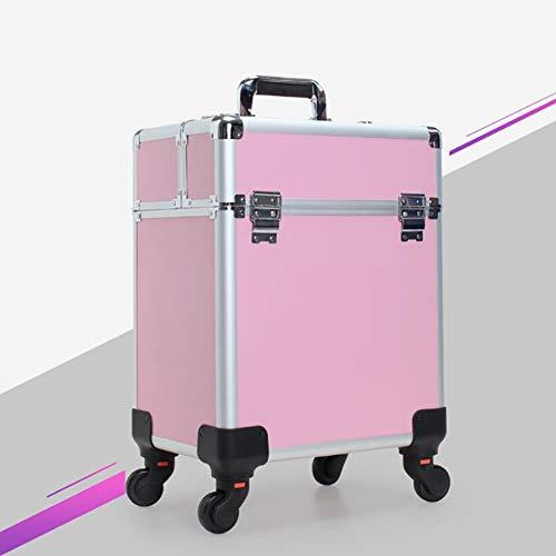 3 En 1 Trolley à Maquillage Mallette Valise Beauty Case Multifonctionnel Stockage CosméTiques Cas Chariot Malette Aluminium Vide Sac De Maquillage Professionnel,Rose,A