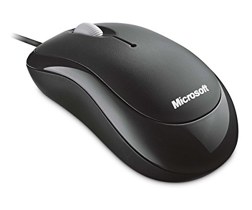 Microsoft Basic Optical Mouse - Ratón con Cable, Compatible con Mac y Windows, Color Negro