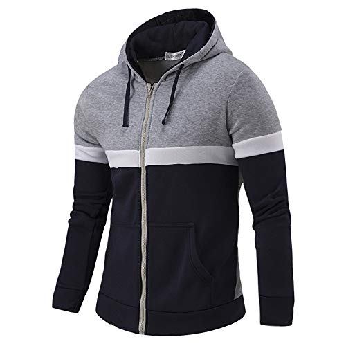 YUHUISTART Hoodies Kapuzenjacke Nähte Farbe Beiläufig Langarm Herbst Winter Patchwork Reißverschlusstasche Hoodies Top Bluse
