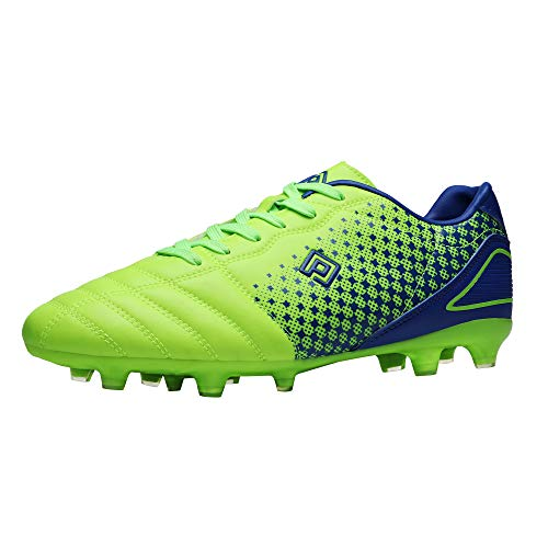 DREAM PAIRS Men's Superflight-1 Firm Ground Soccer Cleats Soccer Shoes, US,Neon Green Royal l,Size 10
