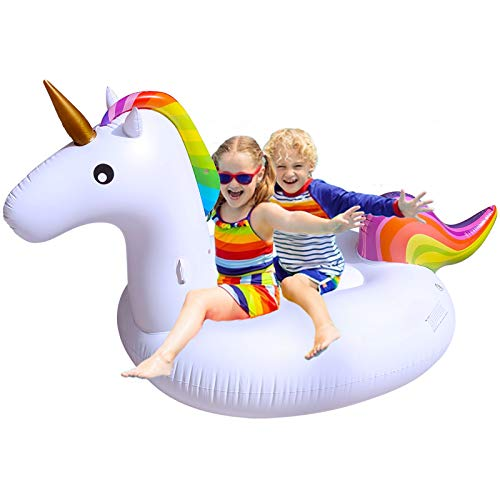 """TURNMEON Inflatable Unicorn Pool Float Floatie for Boys Girls Giant Summer Beach Float Swimming Pool Party Toys Ride-on Water Pool Toys Raft Lounge for Kids Adults(78.7"""" X 69"""" X 45"""")"""