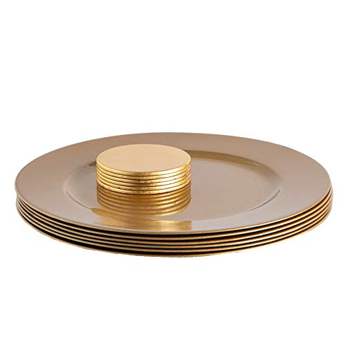 Argon Tableware 12 Piece Metallic Charger Plates Set - Fine Dining Luxe Table Under Plate Coasters - Gold