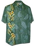 Pacific Legend Tropical Plumeria Single Panel Men's Hawaiian Shirts 444-3970-SAGE-XL