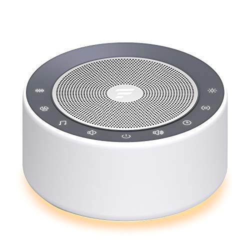 Letsfit White Noise Machine with 7-Color Night Lights, 30 High Fidelity Soundtracks, Full Touch Metal Grille and Buttons, Timer and Memory Features, Portable Sound Machine for Home, Nursery, Office