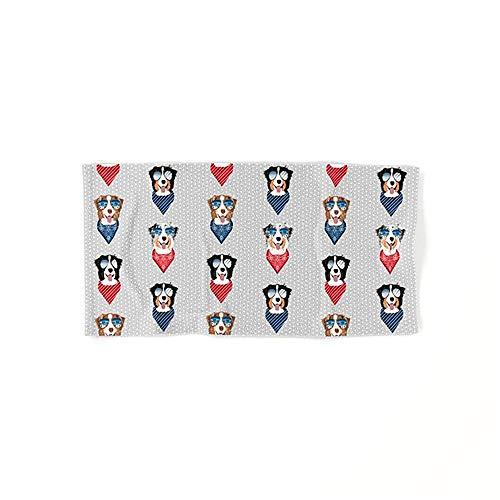 N/A Australische Herder Zomer Zonnebril Bandana Pure Ras Hond Bad Handdoeken Katoen Handdoekenset Egyptisch Katoen Handdoek Set ultra absorberende Travel Sport 40x70cm Zeer absorberend 27.5 * 15.7in