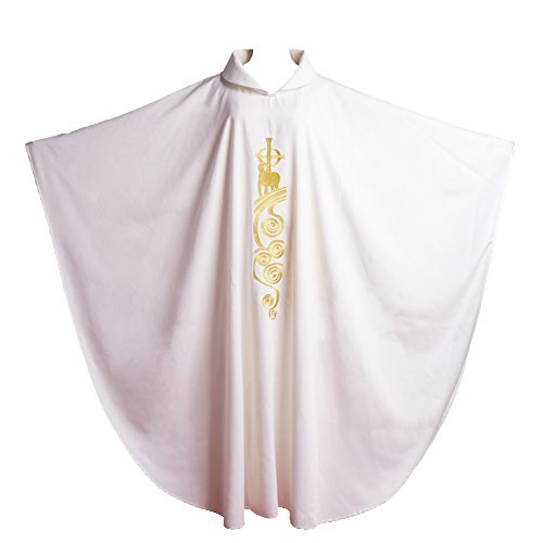 BLESSUME White Catholic Church Pastor Vestments Lamb of God Embroidered Priest Chasuble Robe
