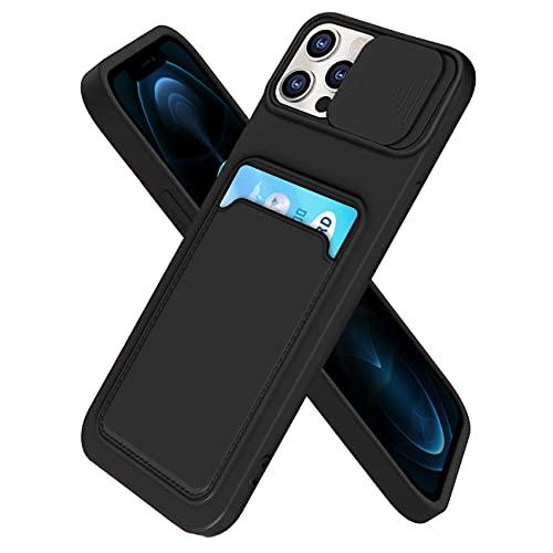 IEMY Funda para iPhone 12 Pro MAX Deslizante Cámara Proteger con Tarjetero Cartera para Porta Tarjetas Carcasa Anti Arañazos Protección Cubierta cámara Case - Negro