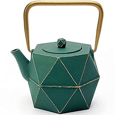 Tea Kettle, TOPTIER Japanese Cast Iron Teapot with Stainless Steel Infuser, Cast Iron Tea Kettle Stovetop Safe, Diamond Design Teapot Coated with Enameled Interior for 30 oz (900 ml), Green