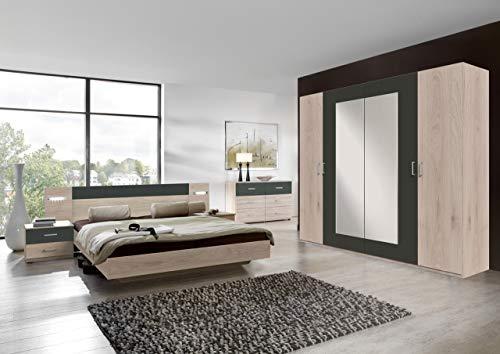 lifestyle4living Schlafzimmer Komplett Set in Eiche-Dekor und grau, 4-teilig | Modernes Komplettset mit Drehtürenschrank, Bett und Nachtschränken